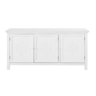Le buffet 3 portes en sapin blanc décor en relief BIANCA apportera une touche authentique au salon, évoquant une inspiration nostalgique et bucolique. Une structure et des poignées en bois ...