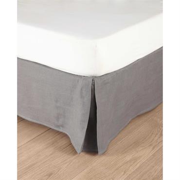 Cache-sommier 180 x 200 cm en lin lavé gris