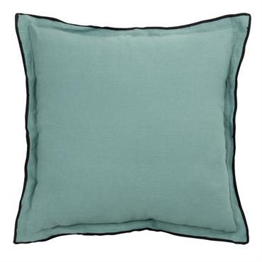 Coussin en lin lavé bleu à bordure noire 45x45