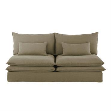 Chauffeuse de canapé 2 places en lin vert kaki Pompei