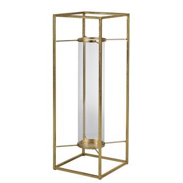 Photophore en métal doré et verre