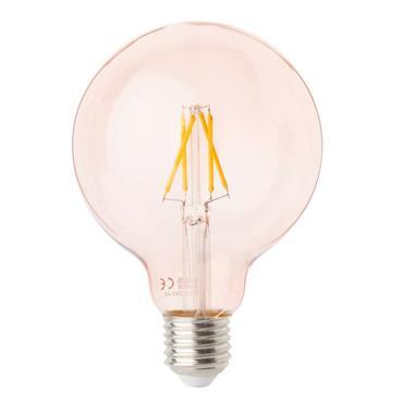 Ampoule LED en verre paillettes roses