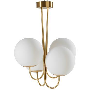Lustre 4 branches en verre blanc et métal doré D