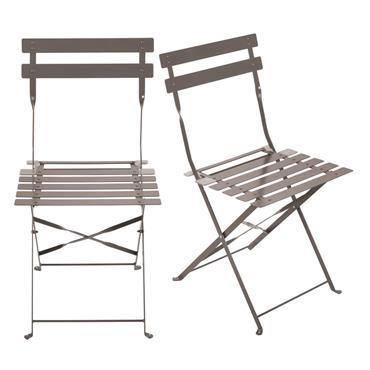 Chaises de jardin pliantes en métal époxy taupe foncé H80