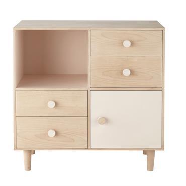 Cabinet de rangement 4 tiroirs 1 porte Lou