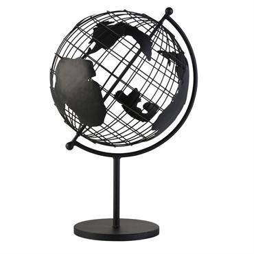 Globe terrestre carte du monde en métal noir mat ajouré