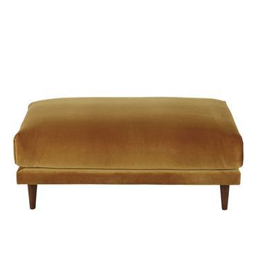 Pouf de canapé en velours ocre Raoul