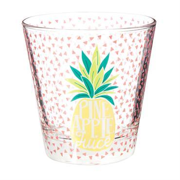Gobelet en verre imprimé ananas PINEAPPLE