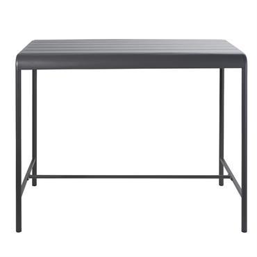 Table haute de jardin en métal gris 4 personnes L130 Batignolles
