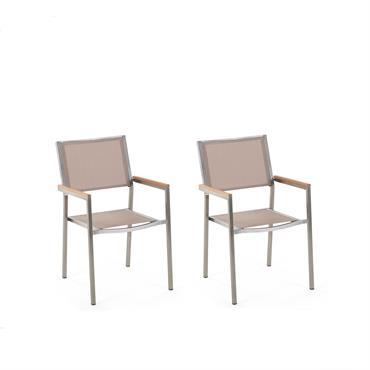 Lot de 2 chaises beiges en acier