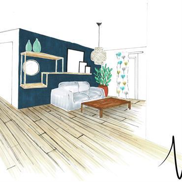 Aménagement et design d'espace pour une pièce principal d'un appartement. Meubler les volumes d'une cuisine ouverte sur salon/séjour. Dans un ... Domozoom