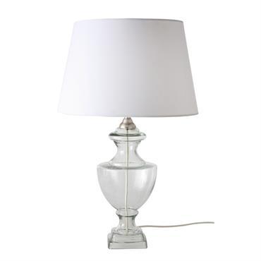 Lampe en verre et abat-jour blanc
