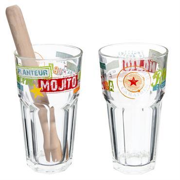 Coffret 2 verres à mojito en verre multicolores