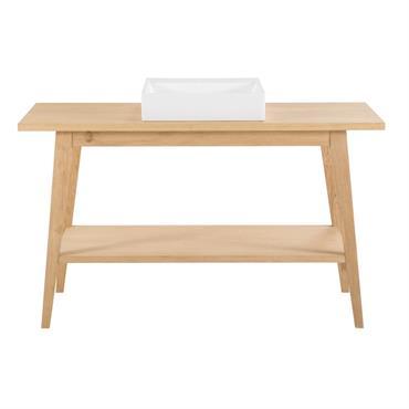 A mi-chemin entre le style vintage et contemporain, le meuble vasque NORMAN est aussi pratique qu'esthétique. Conçu en placage chêne et chêne massif, il offre un vent nouveau à votre ...