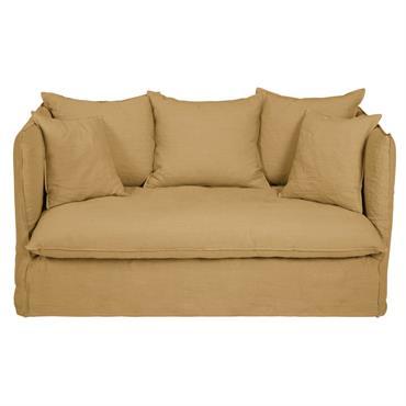 Canapé-lit 2 places en lin ocre