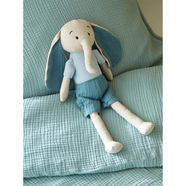 Doudou éléphant lin et coton bleu