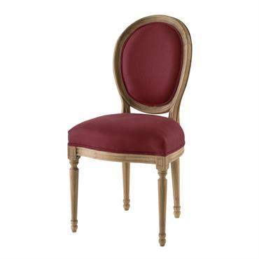 Chaise médaillon en lin terracotta Louis