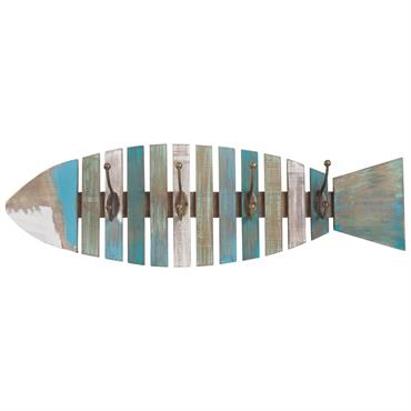 Patère poisson 4 crochets en métal