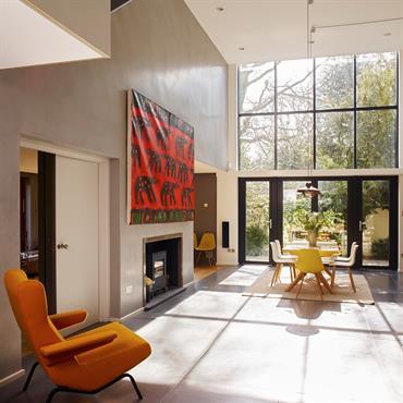 Ilot de cuisine, dalles de sol (1115m2) et snack bar en beton  Produits : Plateau ilot : Beton Lege® en 80mm ... Domozoom