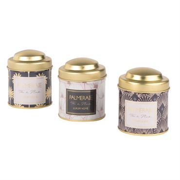 3 boîtes à thé en métal doré à motifs