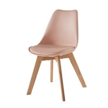 Chaise style scandinave rose poudré et chêne massif Ice