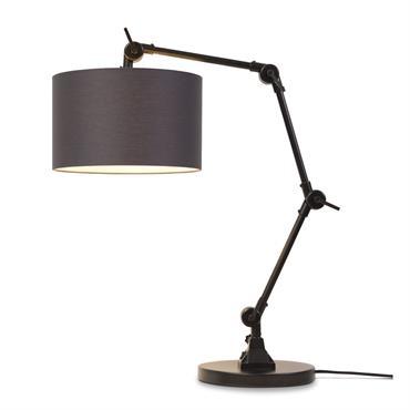 Lampe de table noire flexible et abat-jour gris foncé H100cm