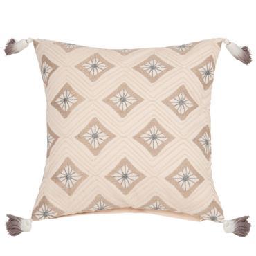 Housse de coussin en coton motifs brodés 40x40
