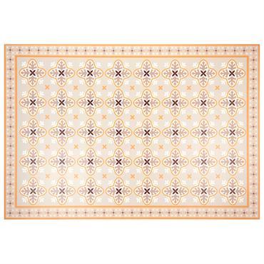 Tapis en vinyle motifs carreaux de ciment orange 100x150