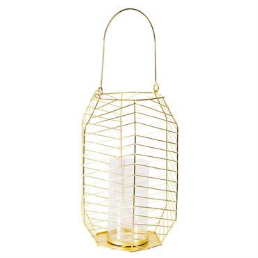 Lanterne filaire en verre et métal doré
