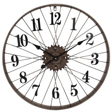 Horloge roue de vélo en métal noir D60