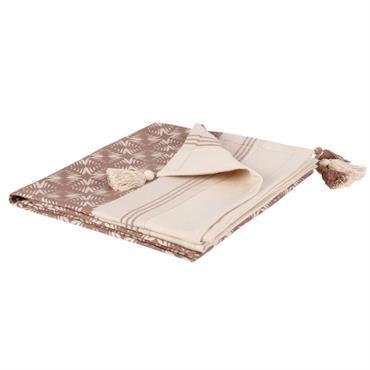 Plaid en coton rose et écru 160x210