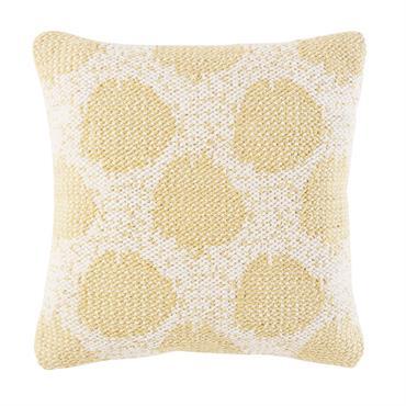 Coussin en coton tissé écru motifs à pois jaunes 45x45