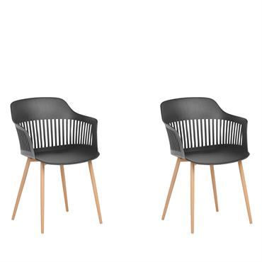 Lot de 2 chaises de salle à manger noires