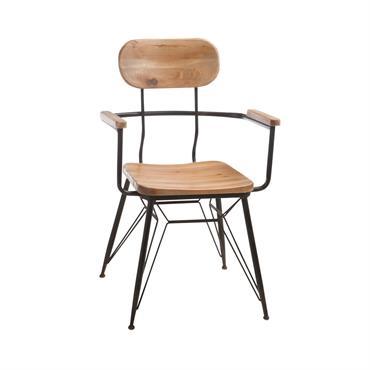Chaise industrielle en bois et métal avec accoudoirs