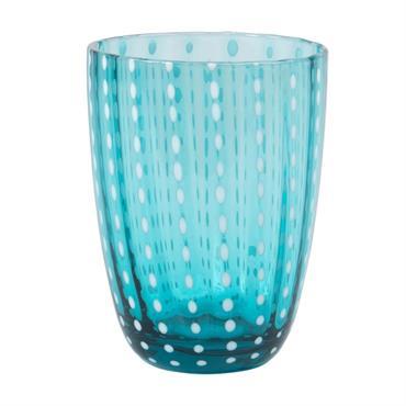 Gobelet en verre bleu à pois blancs