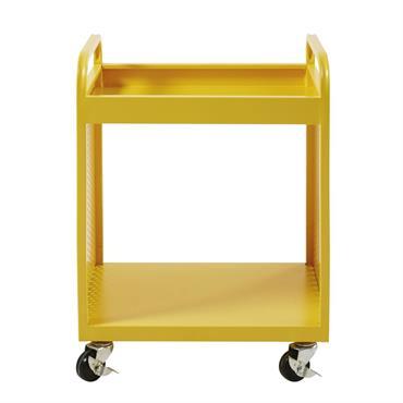Table de chevet indus à roulettes en métal jaune Atelier Hype