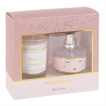Coffret bougie et diffuseur de parfum douceur poudrée