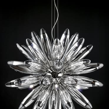 Suspensions,appliques chrome, verre cristal - cristal/blanc  Domozoom