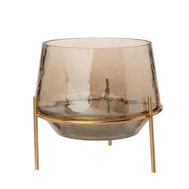 Photophore en verre marron et support en métal doré