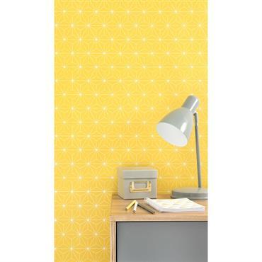 Papier peint intissé graphique jaune H 10