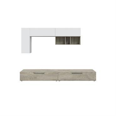Meuble TV blanc/bois 2 portes L260cm et étagère murale L210cm