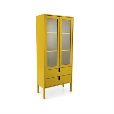 Armoire double portes vitrées et tiroirs Moutarde