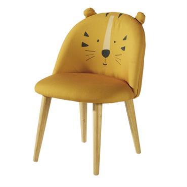 Chaise enfant jaune moutarde motif tête de tigre et bouleau massif