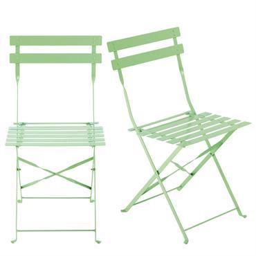 2 chaises pliantes de jardin en métal vert d'eau Guinguette