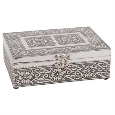 Boîte à bijoux en métal gravé