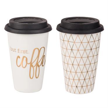 2 mugs de voyage en porcelaine blanche