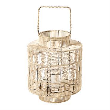 Lanterne en bambou tressé blanchi H48