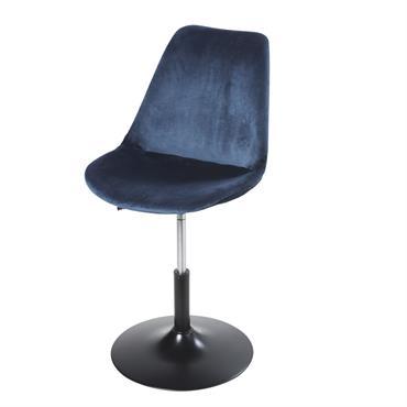 Chaise de bureau réglable en métal et velours bleu foncé Circle