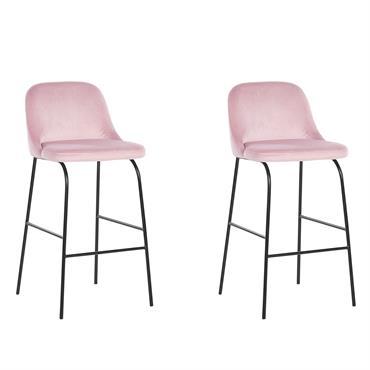 Lot de 2 chaises de bar en velours rose