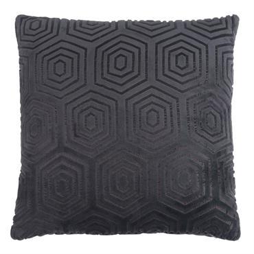 Coussin gris anthracite à motifs 45x45